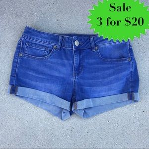 SO brand JEAN SHORTS CUFFED juniors blue booty 9